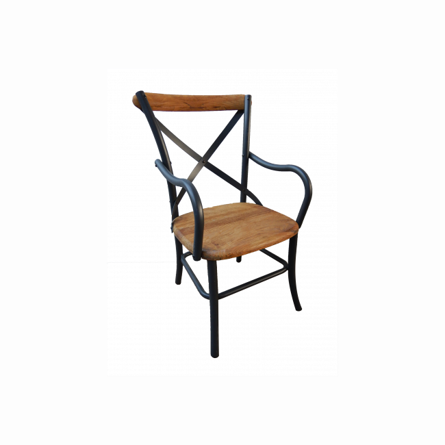 Metal and wooden bistro chair