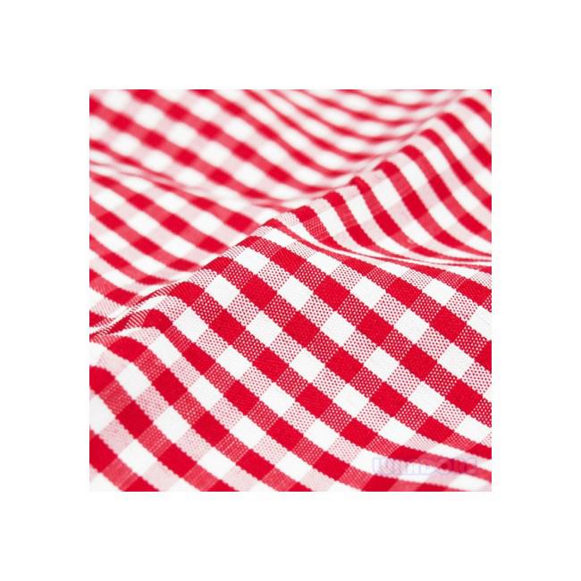 Rectangular red and white checkered tablecloth 2.10 x 1.35 m.