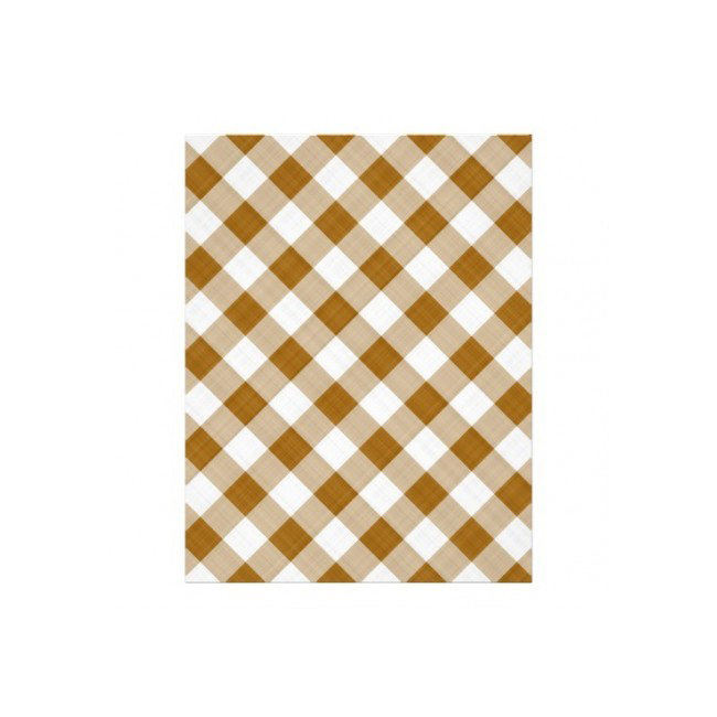 Round brown and white checkered tablecloth Ø 1.80 m