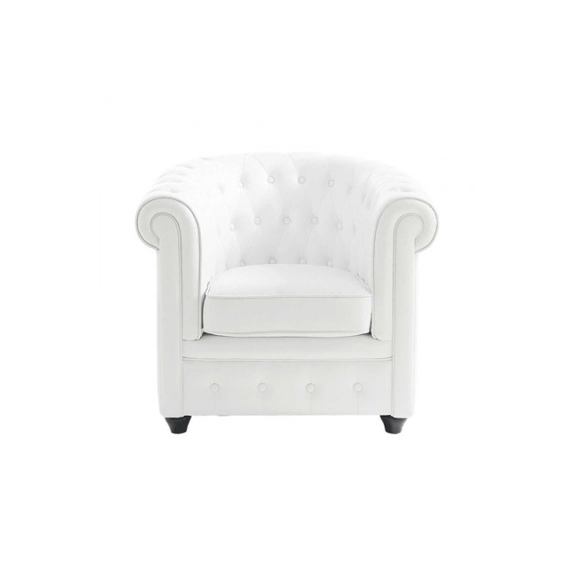 Chesterfield white armchair